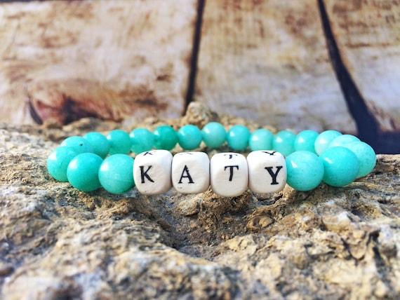 155c5a4fb251e Aquamarine bracelet, Aquamarine jewelry, Womens bracelets, Name bracelet,  Custom bracelet, Wood bracelet, Friendship Bracelet, love bracelet