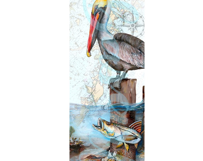 India Ink Painted Pelican & Snook w/ a Digitally Integrated Fl Keys Map.