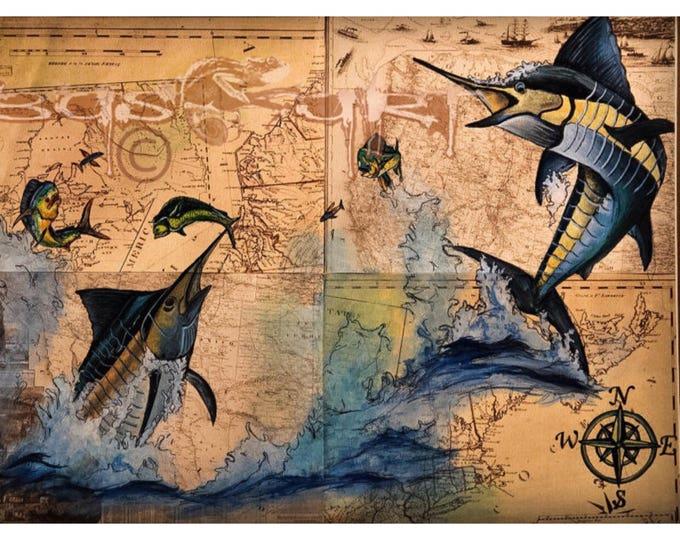 """Sea Map"" -Fine Art Giclee Prints."