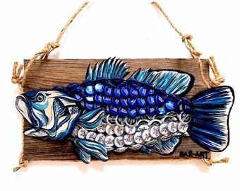 Upcycled Bass Fish.