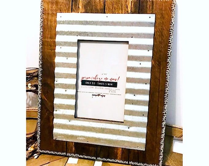 Waved Galvanized Metal Picture Frame.