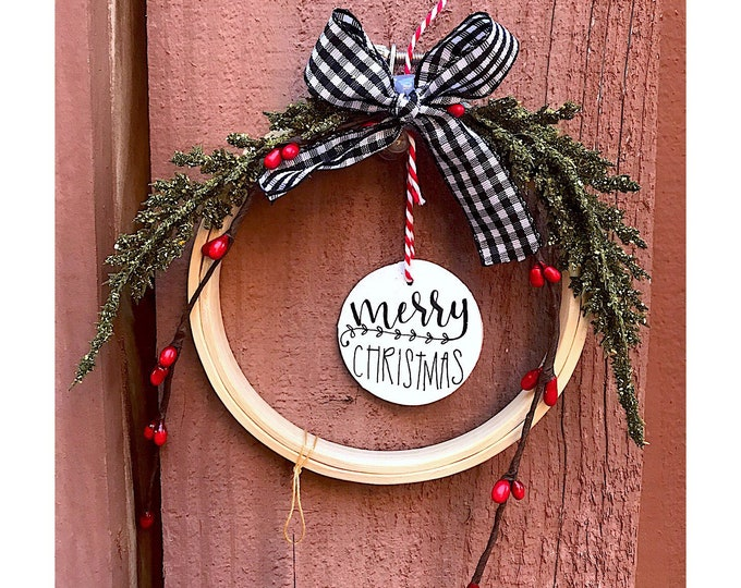 Merry Christmas- Embroidery Hoop Ornament.
