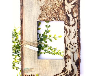 Custom Burned Tree Frame. Basswood Frame w/ Bark Edges.