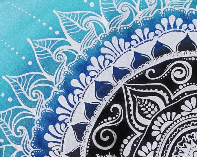 """""""Aqua Mandala"""" -Fine Art Giclee Print."""