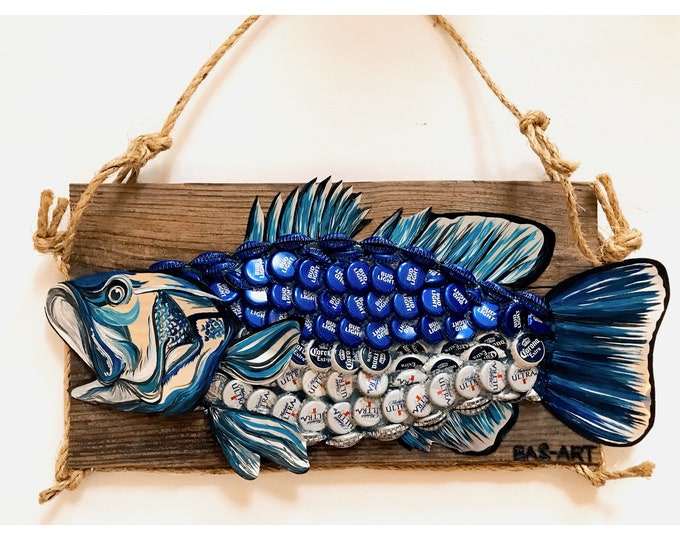 Upcycled Bass Fish.