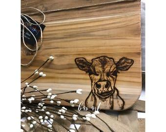 Farmhouse Teak Cutting Board w/ Burned Calf.