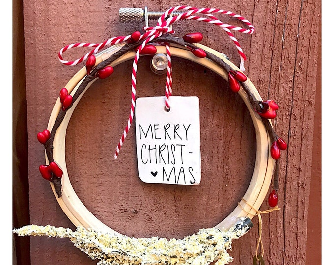 Merry Christmas- Embroidery Hoop Ornament