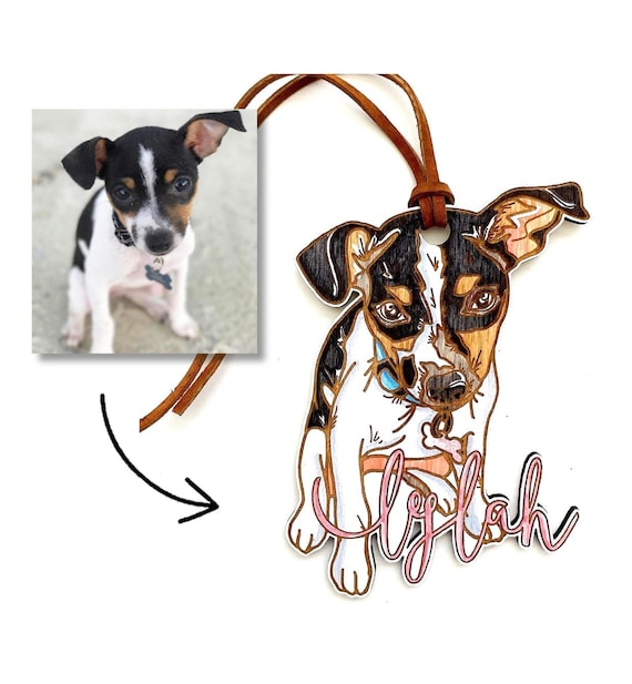 Custom Pet ornaments. Your own photo! Personalized pet ornaments. Rear view mirror ornament. Custom dog ornament. Pet sketch. Dog drawing.