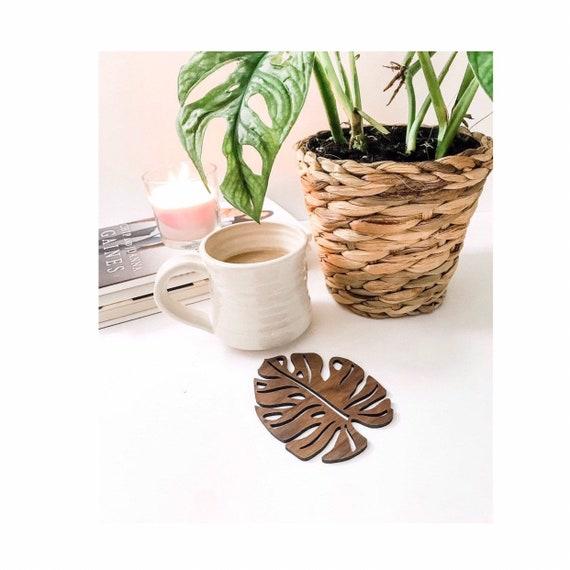 Monstera Coaster. Wooden Coaster. Leaf coaster. Swiss cheese plant. Swiss cheese leaf. Cute coasters. Custom wooden coasters. Personalize