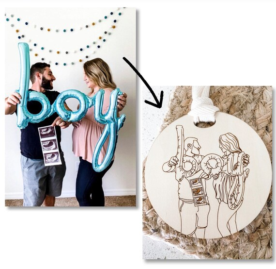 Line drawing family ornaments. Family portrait ornament. Line drawing portrait. Line drawing art. Family drawing. Family ornament. Ornaments