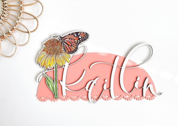 Nursery name sign. Little girls room. Name signs. Boho name sign. Girls boho decor. Little girl boho room. Butterfly name sign. Boho nursery