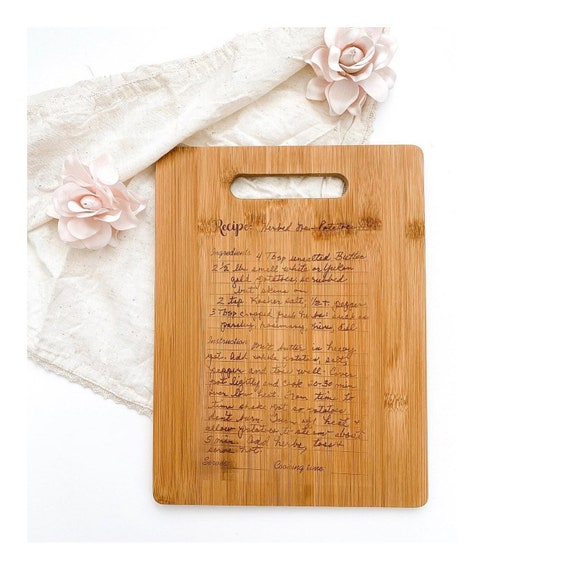 Recipe Cutting Board. Handwritten recipe board. Recipe keepsakes. Recipe gifts. Engraved handwriting. Grandma's recipe. Mother's Day gifts.
