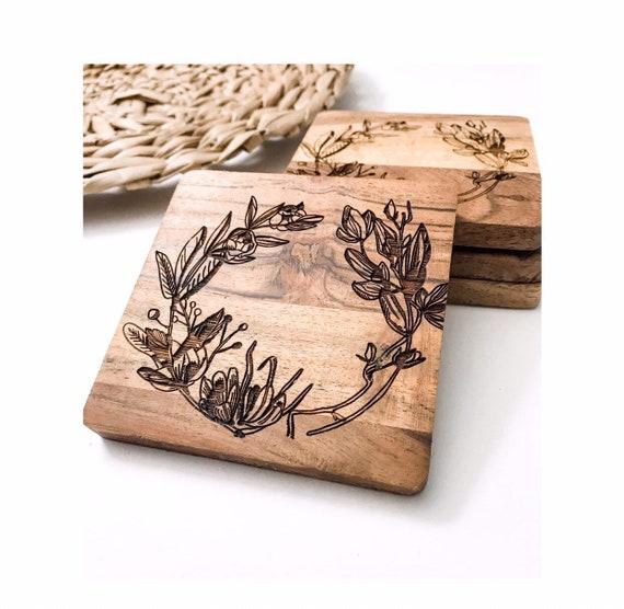 Acacia Coasters. Floral Coasters. Floral Wreath Coasters. Engraved Coasters. Floral Coasters. Coaster. Rustic Coasters. Acacia Wood Coasters