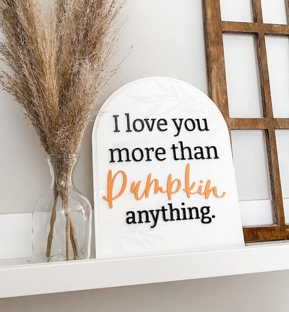 I love you more than pumpkin anything. Acrylic sign. Acrylic signs. Calligraphy. Acrylic calligraphy signs. Fall decor. Fall sayings. Fall