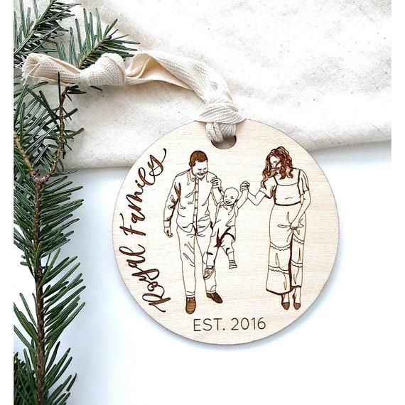 Family Portrait Ornament. Family Ornament. Custom Family Ornament. Family portrait gifts. Engraved ornament. Personalized family ornament.
