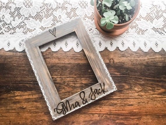 Barn wood Picture Frame. Personalized engraved frame. Engraved Picture Frame. Farmhouse picture frame. Rustic picture frame.