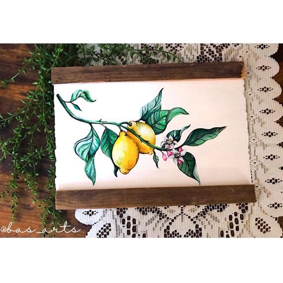 Lemon Tree Branch Farmhouse Scroll Art