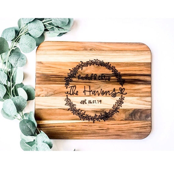 Personalized Cutting Board. Teak Cutting Board. Wedding Gift. Personalized Wedding Gift. Anniversary Gifts. New Home Gifts. Custom engraved