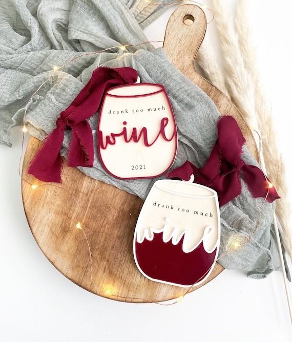 Drank too much wine ornament. Wine ornament. Red wine. Red wine ornament. White elephant gifts. Secret santa ornament. Red wine Christmas