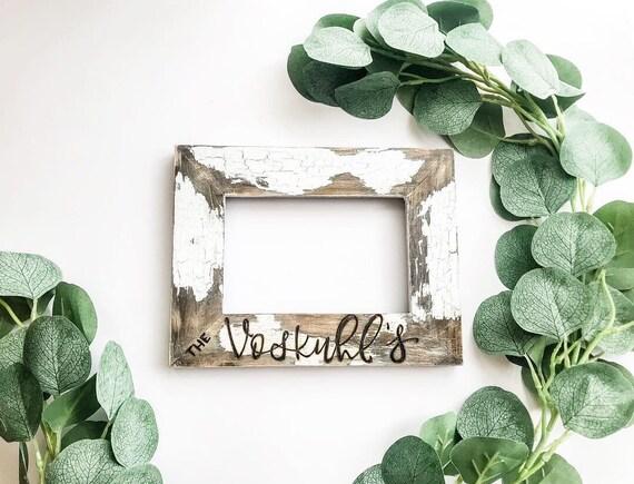 Chippy Farmhouse Frame. Barnwood Picture Frame. Rustic picture frame. Personalized picture frame. Chippy paint. Farmhouse picture frame.
