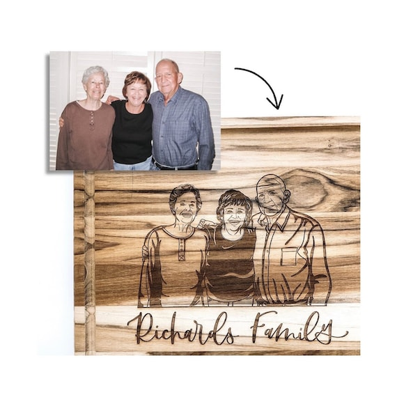 Personalized family cutting board. Photo engraving. Family photo gifts. Photo gifts. Anniversary gift. Wedding portraits. Wedding gifts.