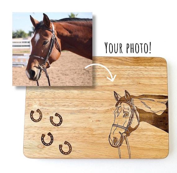 Custom engraved pet cutting boards. Pet cutting board. Horse cutting board. Custom engraved cutting boards. Engraved horses. Horse gifts