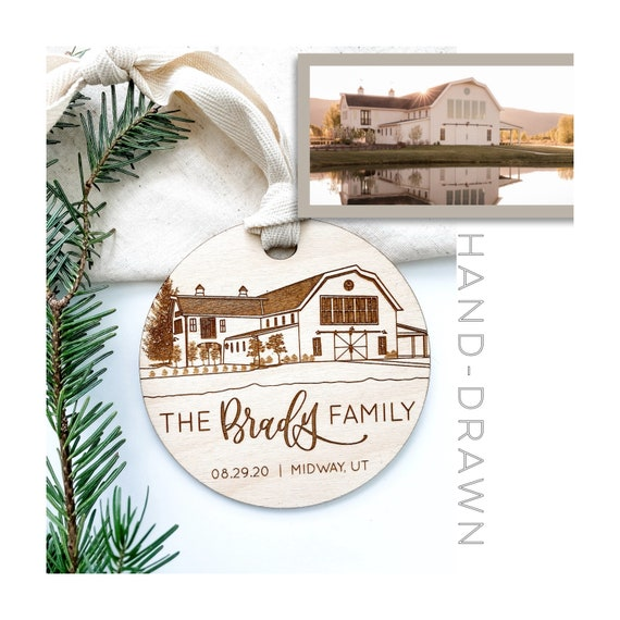 Home Portrait. House Ornament. House drawing. New Home Ornament. New home gifts. Housewarming gift. Milestone ornament. House coordinates