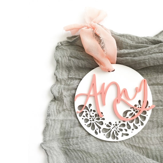 Personalized floral lace ornament. Pink ornament. Boho ornament. Boho girls ornament. Boho Christmas. Floral cut out ornament. Personalized