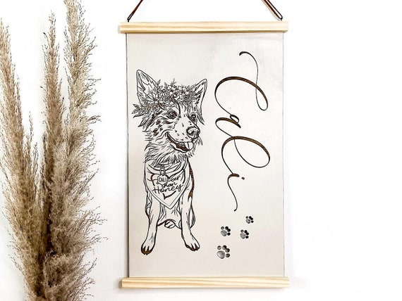 Pet portrait wall hanging. Scroll style pet portrait. Wooden sign. Pet engraved sign. Pet portraits. Pet drawing. Pet sketch. Calligraphy.