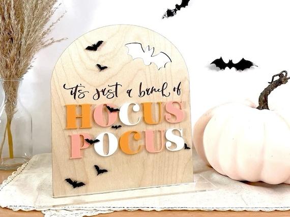 Boho fall decor. Hocus pocus sign. Boho hocus pocus. Fall sign. Acrylic sign. Halloween decor. Boho Halloween. Bats. Boho decor. Boho home
