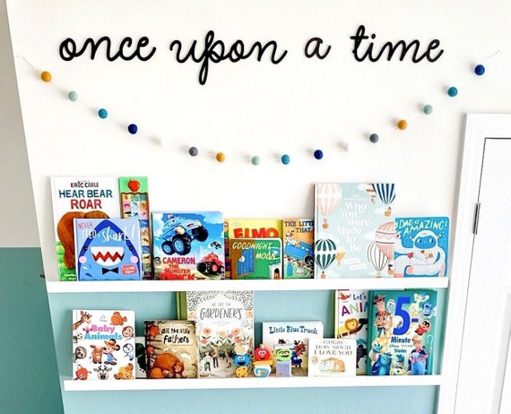 Once upon a time. Nursery decor. Once upon a time lettering. Nursery book wall. Kids room decor. Once upon a time nursery