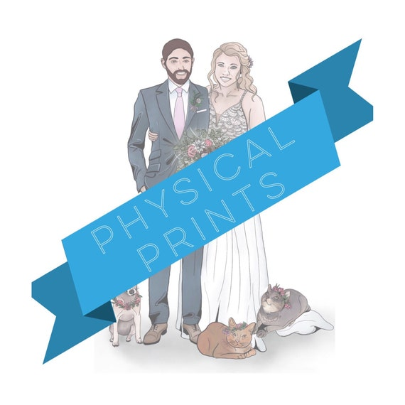 Physical Prints for Wedding Guestbook. Wedding Portrait. Wedding Guestbook Alternative. Wedding Illustrated Portrait. Family Portrait. Pet