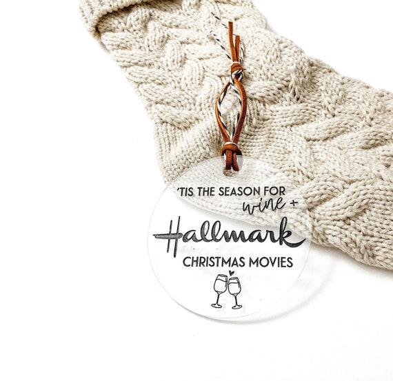 Tis the season for hallmark Christmas movies. Hallmark Ornament. Wine and hallmark movies. Hallmark movies ornament. Funny ornaments. Wine