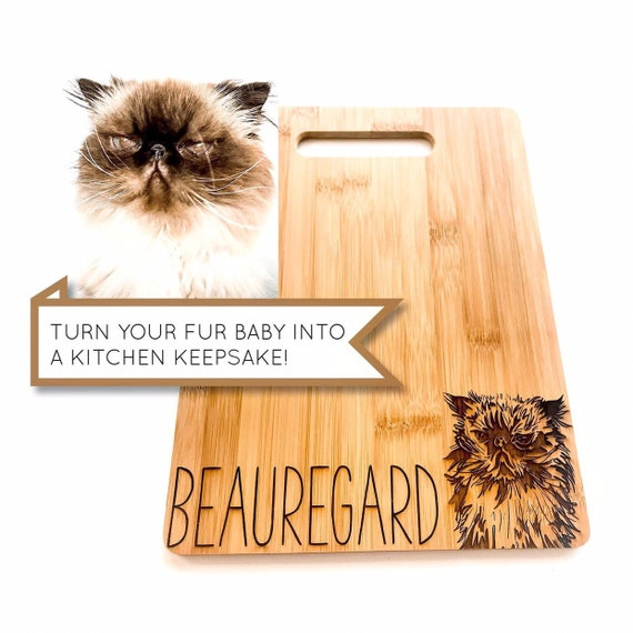 Cat Cutting Board. Personalized engraved cutting board. Angry cat. Pet photo. Custom cutting boards. Personalized gifts. Cat lover gifts.