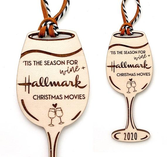 Tis the season for hallmark Christmas movies. Hallmark Ornament. Wine ornament. Wine gifts. Hallmark movies ornament. Funny ornaments. Wine
