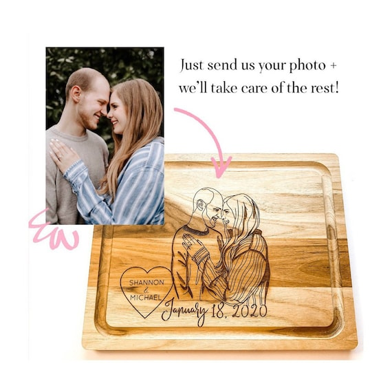 Personalized Wedding Gift. Unique Wedding Gift. Custom Cutting Board. Photo to engraving. Wedding Portrait. Anniversary Gift. Couple Photos