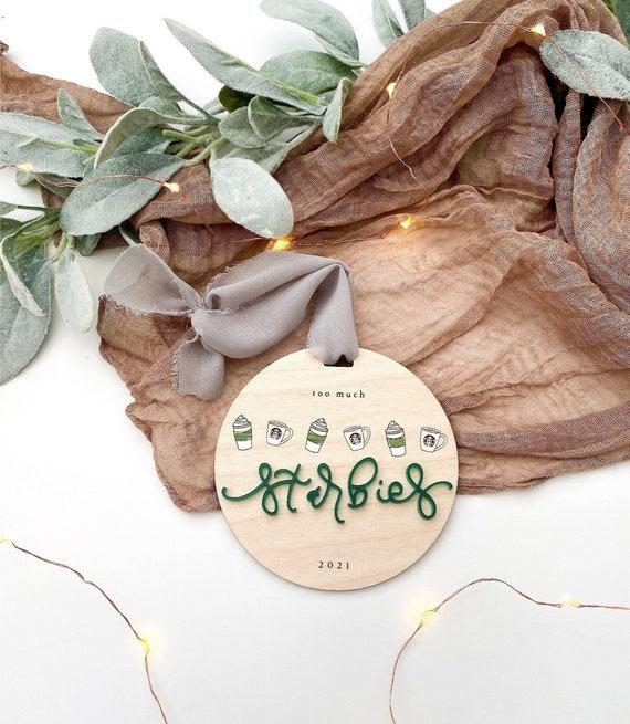 Too much starbies ornament. Starbucks ornament. Starbies. Starbies ornament. Coffee ornament. Starbucks gifts. Secret santa. White elephant