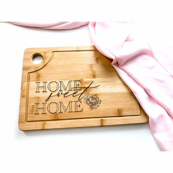 Home Sweet Home. Peonies. Peonies cutting board. Peony. Home sweet home cutting board. Custom cutting board. Personalized cutting board.