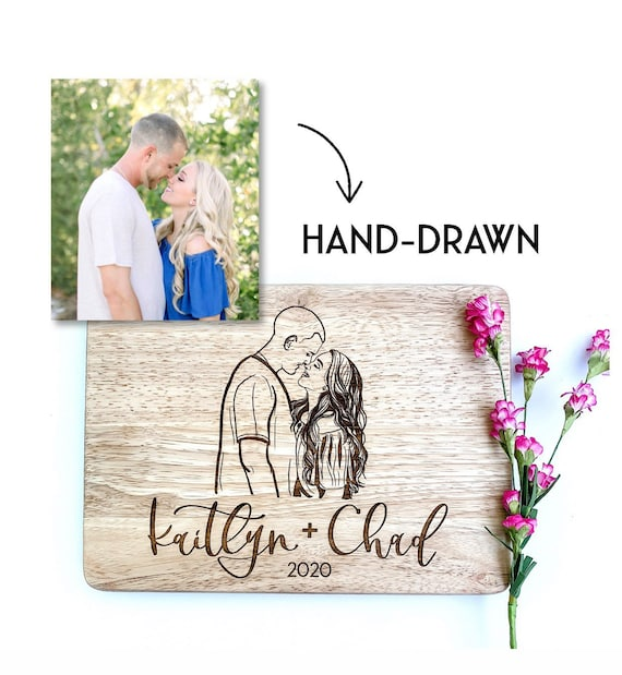 Couple portrait. Personalized wedding gifts. Wedding couple. Custom cutting board. Personalized cutting board. Gifts for newlyweds. Wedding