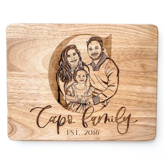 Family portrait. Custom family cutting board. Family portraits. Custom engraved cutting boards. Engraved cutting board. Hand drawn portrait