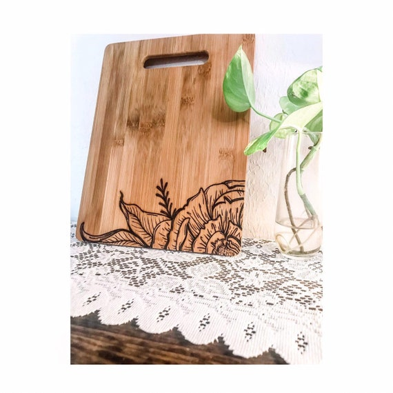 Floral Cutting Board. Peonies. Engraved Cutting Board. Peony cutting board. Peony Decor. Floral Decor. Farmhouse kitchen decor. Peony flower