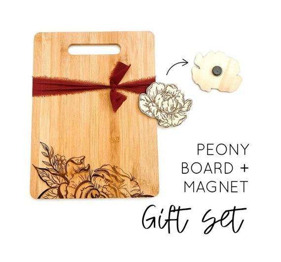 Peony cutting board. Peonies. Peony gifts. Peony magnet. Floral kitchen. Floral cutting board. Peony kitchen. Floral gifts. Personalized