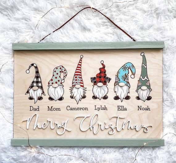 Gnome family. Christmas gnomes. Gnome family sign. Personalized Christmas sign. Christmas gnome decor. Gnome decor. Gnomes. Christmas decor.