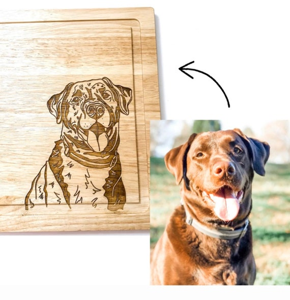 Custom engraved pet cutting boards. Pet cutting board. Dog cutting board. Custom engraved cutting boards. Gifts for dog lovers. Personalized