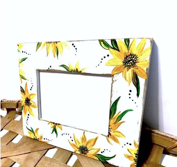 Hand Painted Sunflowers on Distressed White Frame.