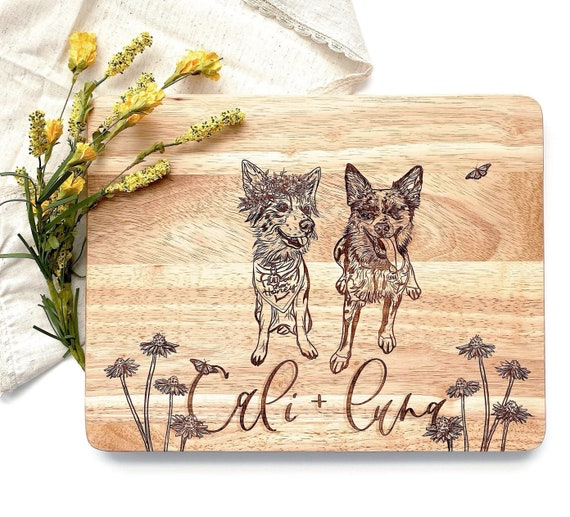 Floral dog cutting board. Flower crown dogs. Flower crown dog sketch. Boho flowers. Flower cutting board. Floral cutting board. Dog sketch.