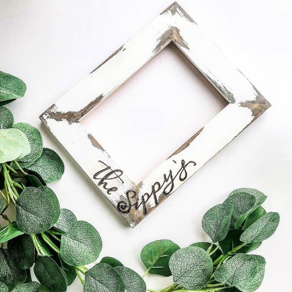 Chippy paint frame. Vertical and horizontal frame. Picture frame. Custom picture frames. Personalized picture frames. Barnwood distressed.