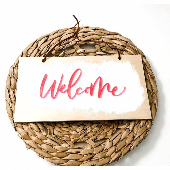 Welcome Sign. Wooden Welcome Sign. Pink Acrylic. Calligraphy. Wood and Leather. Housewarming Gift. Housewarming. Home. Signs