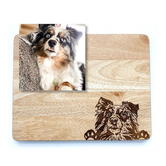 Custom engraved pet cutting boards. Paw Prints. Pet cutting board. Dog cutting board. Custom engraved cutting boards. Dog sketch. Pet Sketch