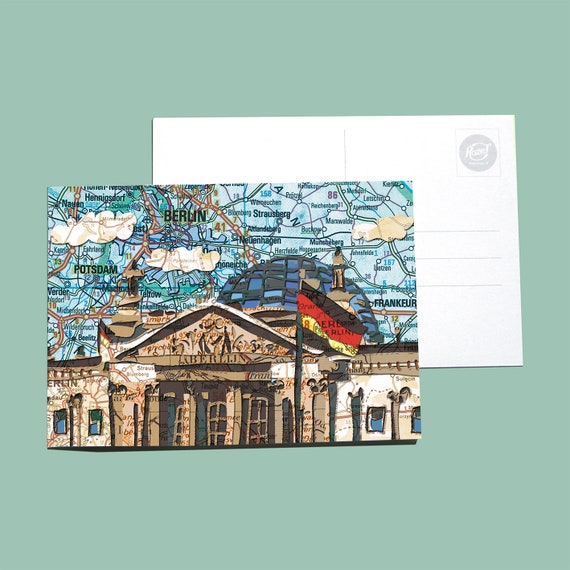 World map postcards - Berlin series